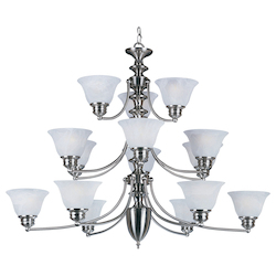 Maxim Fifteen Light Satin Nickel Marble Glass Up Chandelier