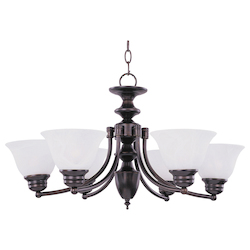 Maxim Six Light Oil Rubbed Bronze Marble Glass Up Chandelier
