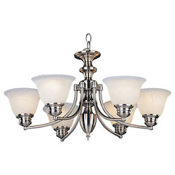 Maxim Six Light Satin Nickel Marble Glass Up Chandelier