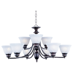 Maxim Nine Light Oil Rubbed Bronze Marble Glass Up Chandelier