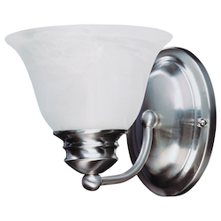 Maxim One Light Satin Nickel Marble Glass Wall Light