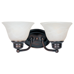 Maxim Two Light Oil Rubbed Bronze Marble Glass Vanity