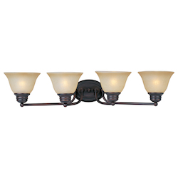 Maxim Four Light Oil Rubbed Bronze Wilshire Glass Vanity