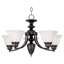 Maxim Five Light Oil Rubbed Bronze Marble Glass Up Chandelier