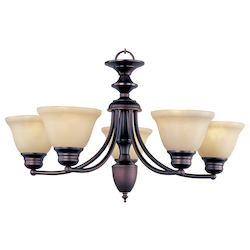 Maxim Five Light Oil Rubbed Bronze Wilshire Glass Up Chandelier