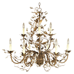 Maxim Nine Light Etruscan Gold Up Chandelier