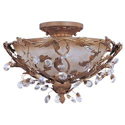 Maxim Three Light Etruscan Gold Frosted Ivory Glass Bowl Semi-Flush Mount