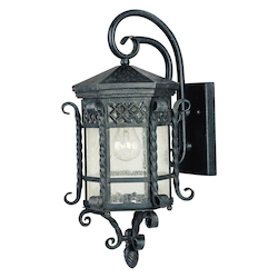 Maxim One Light Country Forge Seedy Glass Wall Lantern