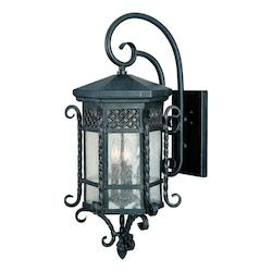 Maxim Three Light Country Forge Seedy Glass Wall Lantern