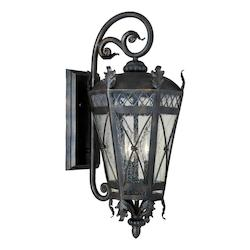 Maxim Three Light Artesian Bronze Seedy Glass Wall Lantern