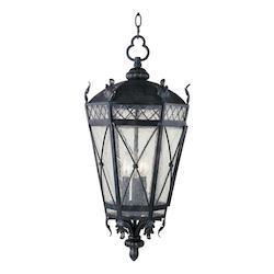 Maxim Three Light Artesian Bronze Seedy Glass Hanging Lantern