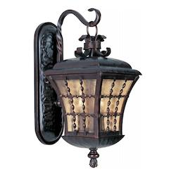 Maxim Three Light Oil Rubbed Bronze Amber Seedy Glass Wall Lantern