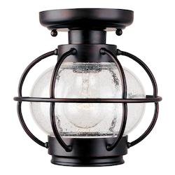 Maxim One Light Oil Rubbed Bronze Seedy Glass Outdoor Semi-Flush Mount