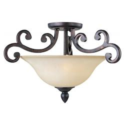 Maxim Three Light Colonial Umber Wilshire Glass Bowl Semi-Flush Mount