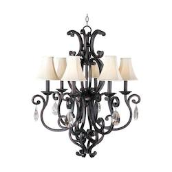 Maxim Six Light Colonial Umber Up Chandelier