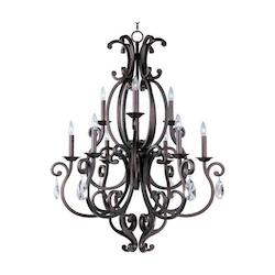 Maxim Nine Light Colonial Umber Up Chandelier