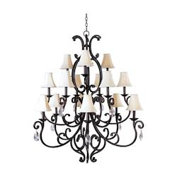 Maxim Fifteen Light Colonial Umber Up Chandelier