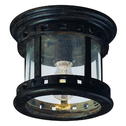 Maxim One Light Sienna Seedy Glass Outdoor Flush Mount