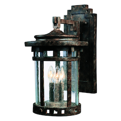 Maxim Three Light Sienna Seedy Glass Wall Lantern