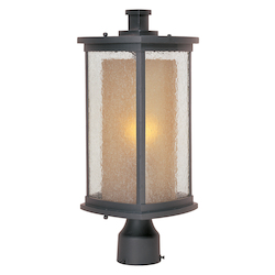 Maxim One Light Bronze Seedy/Wilshire Glass Post Light