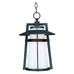 Maxim One Light Satin White Glass Adobe Hanging Lantern