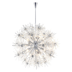 Maxim Eighteen Light Polished Chrome Beveled Crystal Glass Up Chandelier