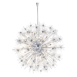 Maxim Fourty Light Polished Chrome Beveled Crystal Glass Up Chandelier