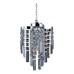 Maxim Four Light Polished Chrome Beveled Crystal Glass Down Pendant