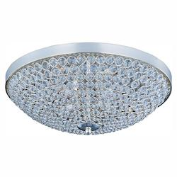 Maxim Four Light Plated Silver Beveled Crystal Glass Bowl Flush Mount