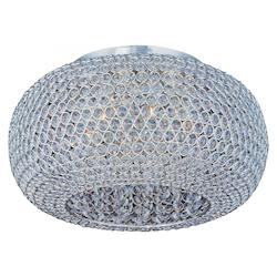 Maxim Six Light Plated Silver Beveled Crystal Glass Bowl Flush Mount
