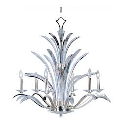 Maxim Six Light Plated Silver Beveled Crystal Glass Up Chandelier