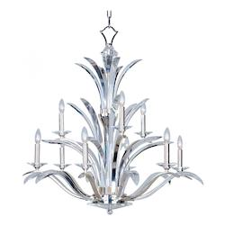 Maxim Nine Light Plated Silver Beveled Crystal Glass Up Chandelier
