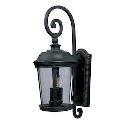 Maxim Three Light Bronze Seedy Glass Wall Lantern
