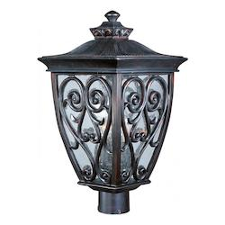 Maxim Three Light Oriental Bronze Seedy Glass Post Light