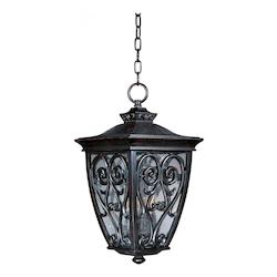 Maxim Three Light Oriental Bronze Seedy Glass Hanging Lantern