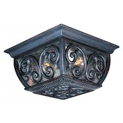 Maxim Two Light Oriental Bronze Seedy Glass Outdoor Flush Mount