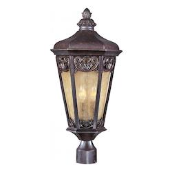 Maxim Three Light Colonial Umber Night Shade Glass Post Light