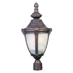 Maxim One Light Empire Bronze Marble Glass Post Light