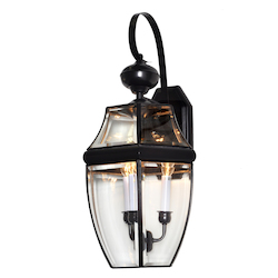 Maxim Three Light Black Clear Glass Wall Lantern