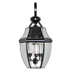 Maxim Three Light Burnished Clear Glass Wall Lantern