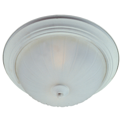 Maxim One Light Textured White Frosted Glass Bowl Flush Mount