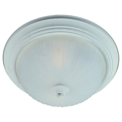 Maxim Two Light Textured White Frosted Glass Bowl Flush Mount