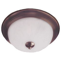 Maxim Three Light Oil Rubbed Bronze Frosted Glass Bowl Flush Mount