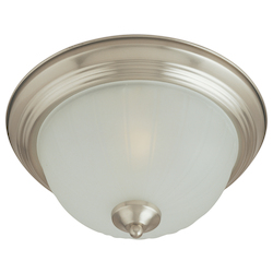 Maxim Three Light Satin Nickel Frosted Glass Bowl Flush Mount