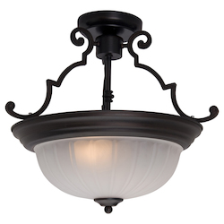 Maxim Two Light Oil Rubbed Bronze Frosted Glass Bowl Semi-Flush Mount