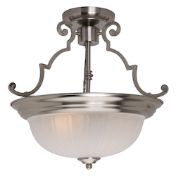 Maxim Two Light Satin Nickel Frosted Glass Bowl Semi-Flush Mount