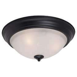 Maxim One Light Black Ice Glass Bowl Flush Mount