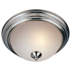 Maxim One Light Satin Nickel Ice Glass Bowl Flush Mount