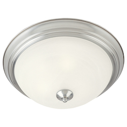 Maxim One Light Satin Nickel Marble Glass Bowl Flush Mount