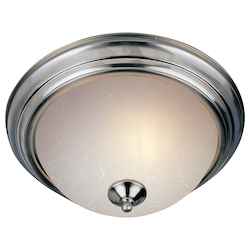 Maxim Three Light Satin Nickel Ice Glass Bowl Flush Mount